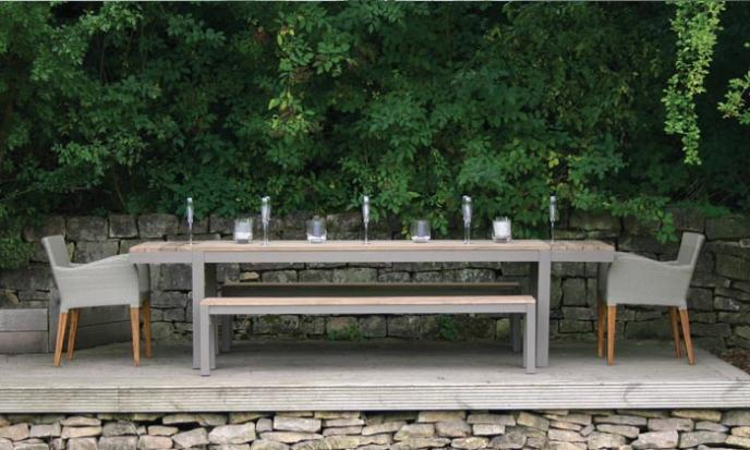 Reclaim teak outdoor dining table with bench and dining chair