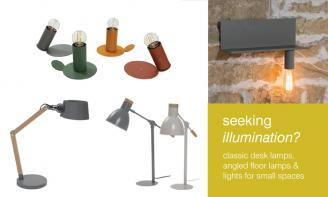 Classic desk lamps, angled floor lamps & lights for small spaces.