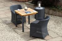 Atlantic Dining Table 70cm sq. - Teak/Anthracite - with Savona Chairs
