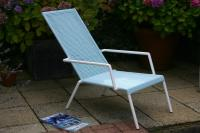Lido Lounger - White/Sky Blue
