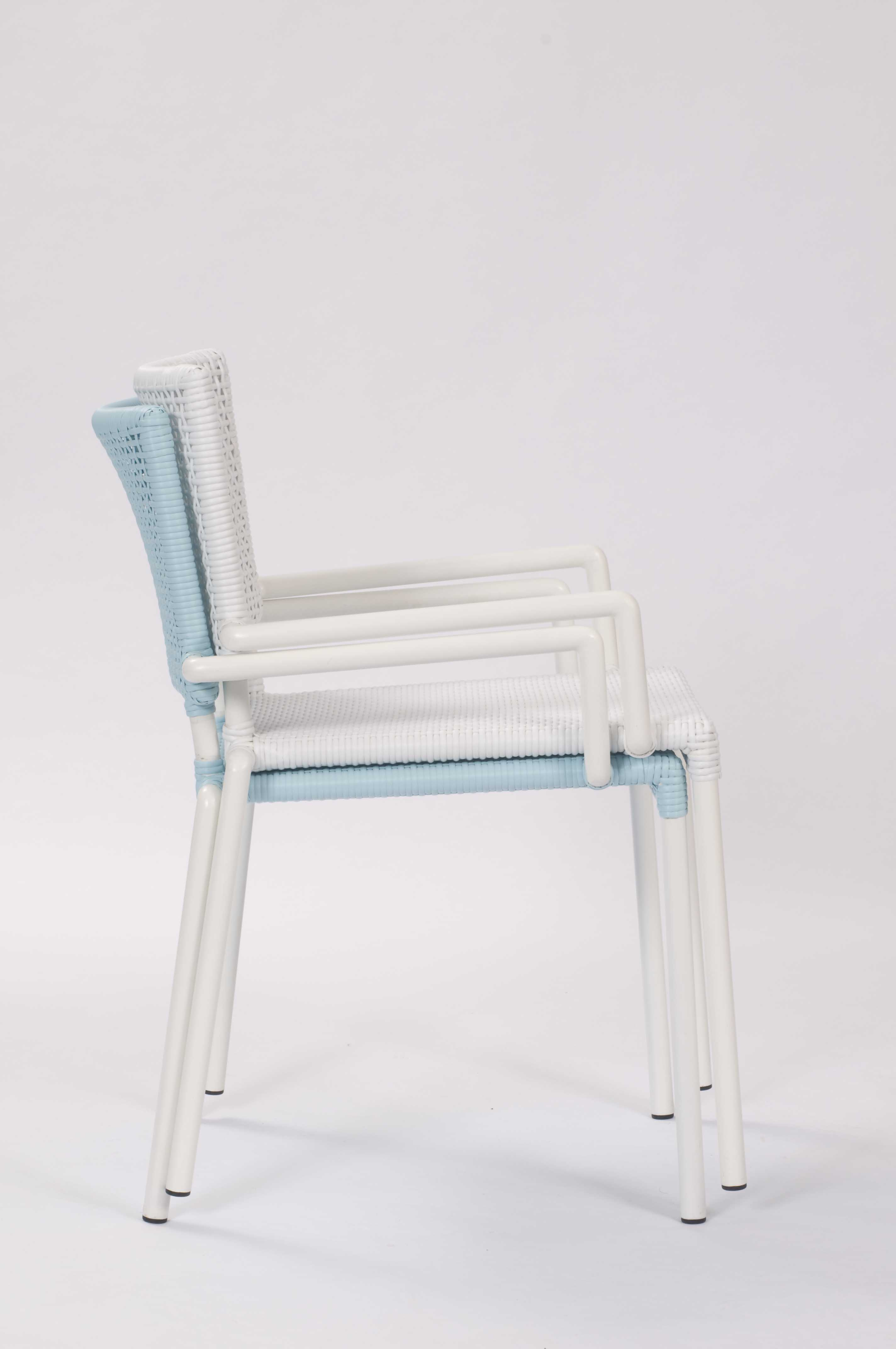 Lido outdoor dining chair with arms blue white pr home for White dining chairs with arms