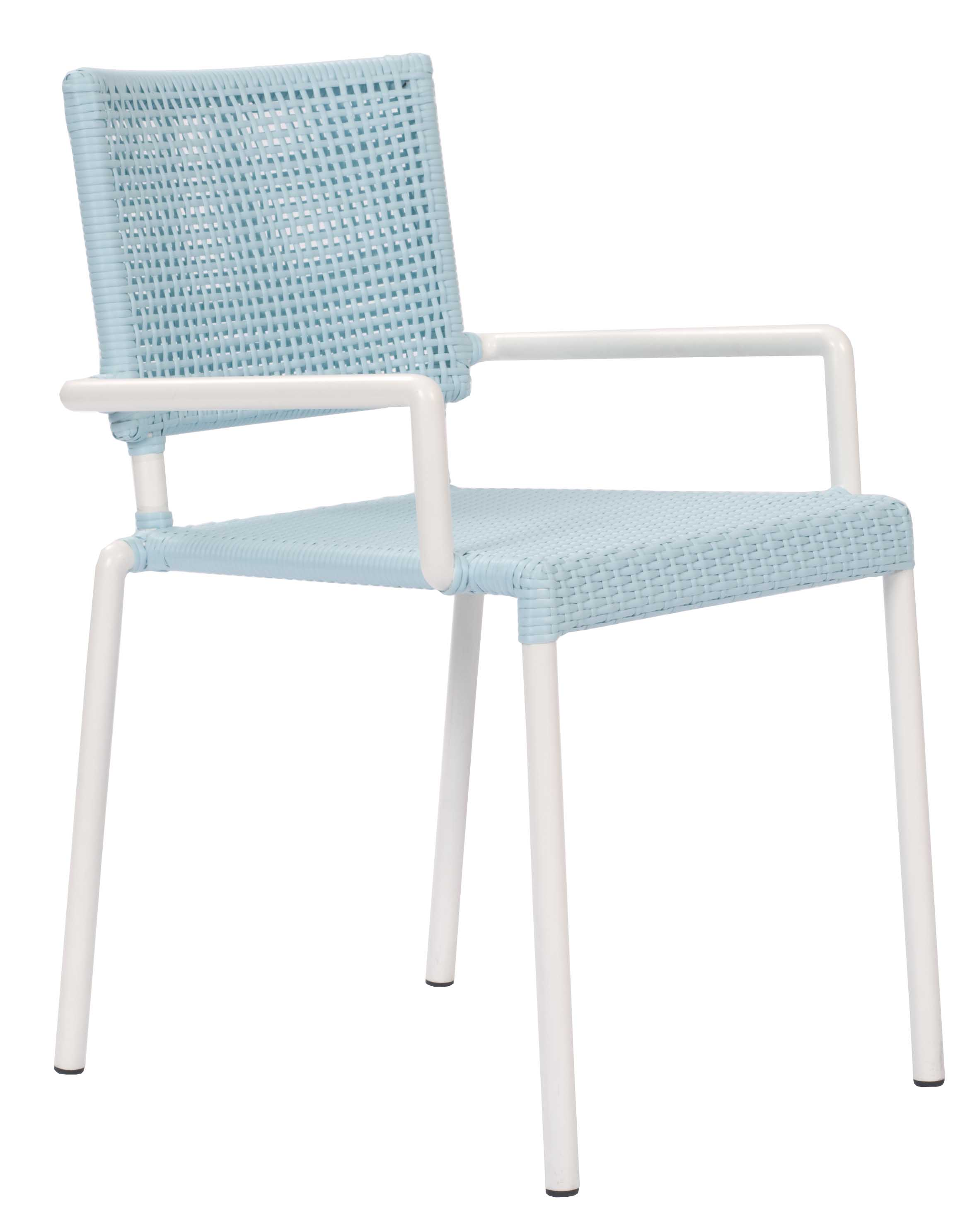 Lido Outdoor Dining Chair with Arms Blue & White