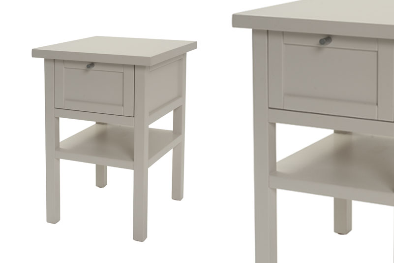Long Island Small Bedside Table - Chalk or Putty